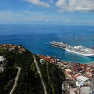 view of port, terminal and cruise ships